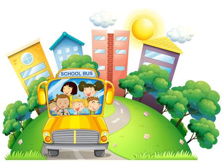 niños en la escuela: Los niños y maestros en la ilustración del autobús escolar
