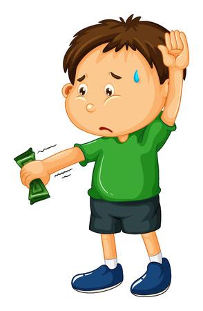 sad boy: Sad boy handing money over illustration Illustration