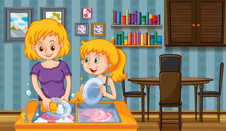 doing: Mother and kid doing dishes together illustration Illustration