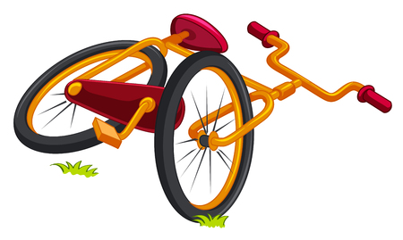 pedaling: Bicycle on the ground illustration