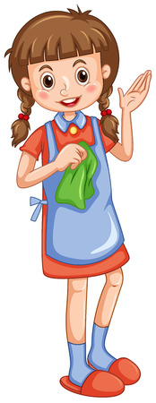 clean: Little girl with cleaning cloth illustration