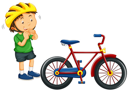 bikes: Boy wearing helmet before riding bike illustration