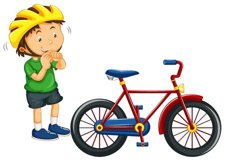 El muchacho llevaba casco antes de montar en bicicleta de la ilustración Foto de archivo - 54768060