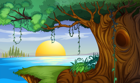 digital art: Scene with sunset at the lake illustration