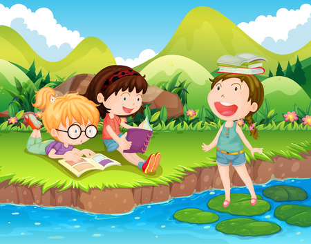 lectura: Tres niñas de leer los libros por el río ilustración