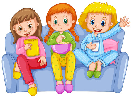 slumber party: Three girls at slumber party illustration Illustration