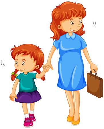 mom and daughter: Daughter and mom holding hands illustration