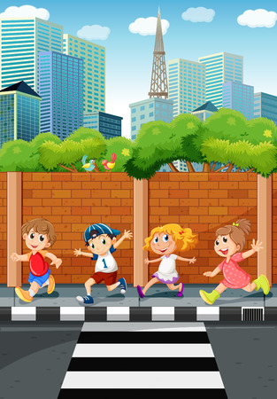Children running on the sidewalk illustration