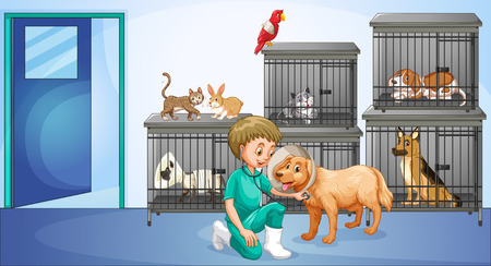 Vet and many animals in the cage illustration Stock Illustratie