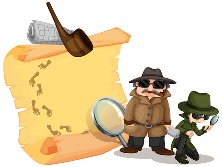hints: Detectives looking for clues illustration