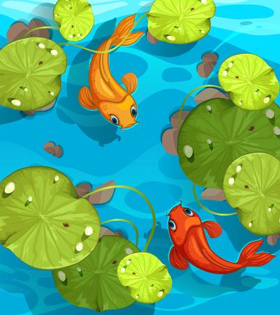 Dwie ryby pływanie w stawie ilustracji Ilustracje wektorowe