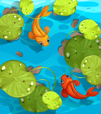 fish pond: Two fish swimming in the pond illustration