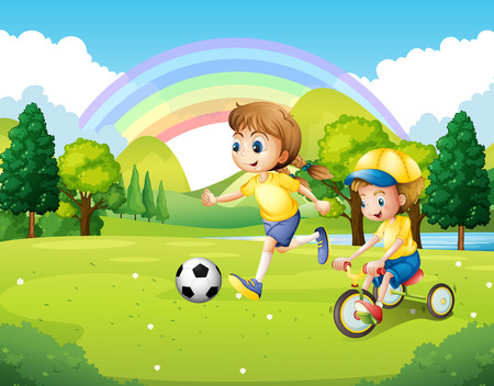kids football: Boy and girl exercising in the park illustration
