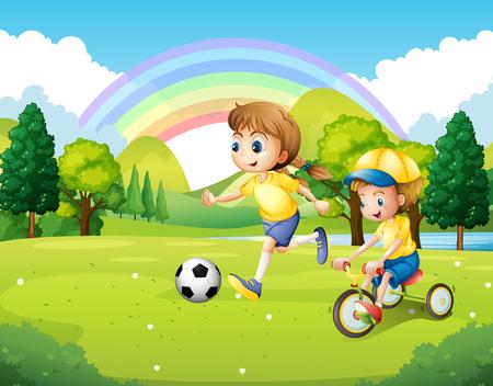 kids outside: Boy and girl exercising in the park illustration