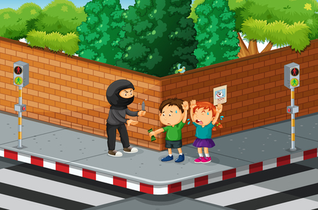 threatened: Children being robbed at the street corner illustration
