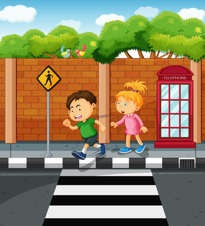 crossing street: Boy and girl on the pavement illustration Illustration