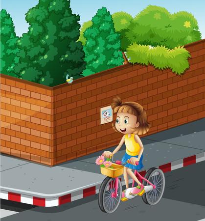 Little girl riding bike on the road illustration
