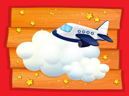 plywood: Frame design with airplane flying illustration Illustration