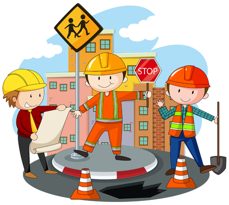 architects: People working at the road construction illustration Illustration