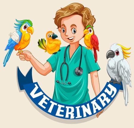 veterinary sign: Veterinary sign with pet birds and vet illustration Illustration