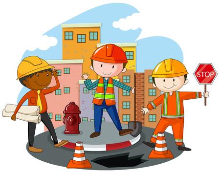 construction workers: Construction workers at the construction site illustration