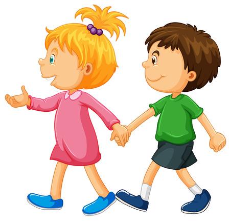 walking on hands: Boy and girl holding hands illustration Illustration