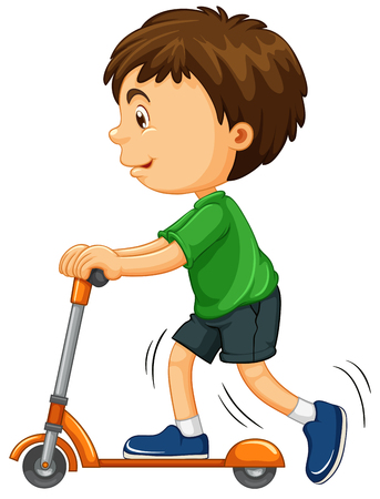 child boy: Boy riding on scooter illustration