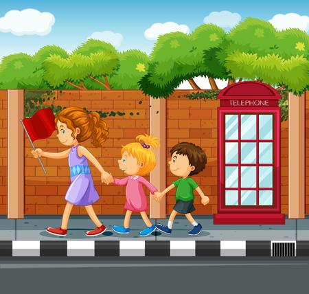 People walking on the pavement illustration
