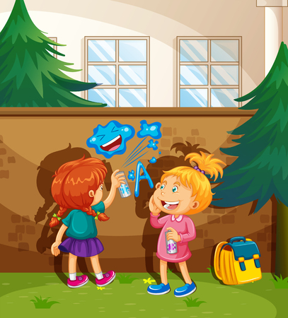 naughty girl: Two girls spray painting the wall illustration Illustration