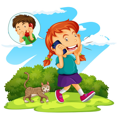 cat call: Girl talking to boy on the phone illustration Illustration