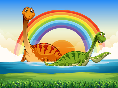 gree: Two dinosaurs swimming in the lake illustration