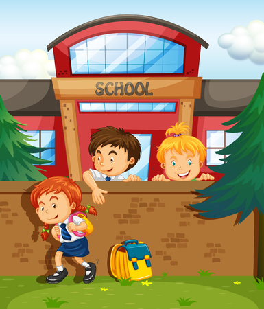 college girl: Children skipping from school illustration