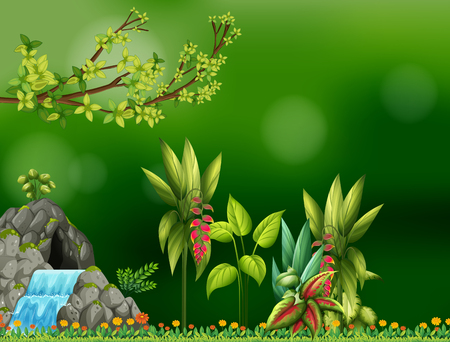 waterfall in forest: Background design with waterfall and cave illustration