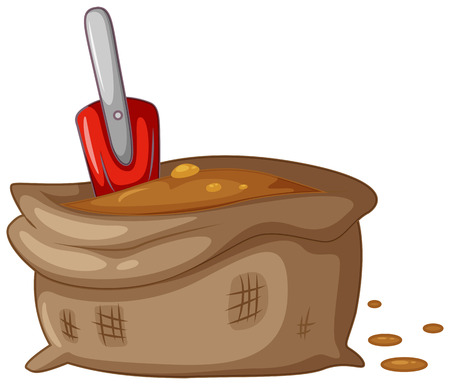 dig up: Bag of dirt and planting spoon illustration