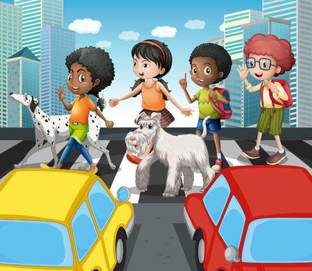 zebra crossing: Children crossing the road at zebra crossing illustration