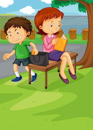 stealing: Boy stealing from womans purse illustration