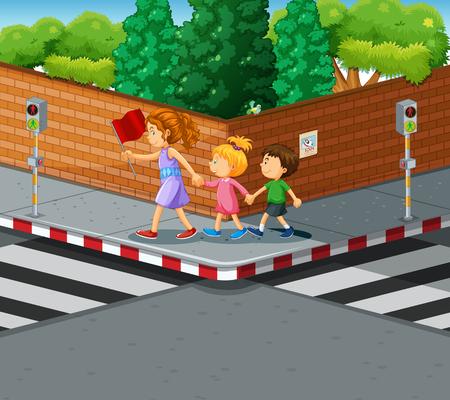 semaforo peatonal: Mujer ayudar a los ni�os que cruzan la calle Ilustraci�n