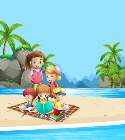 Children reading books on the beach illustration