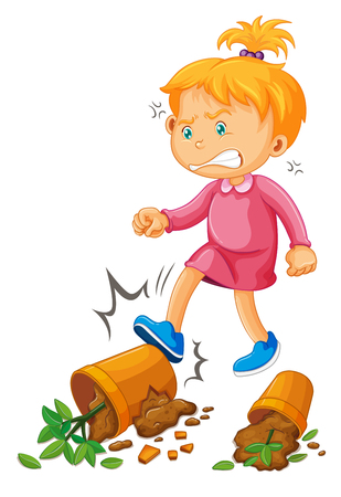 angry teenager: Vandalism scene with girl kicking clay pots illustration