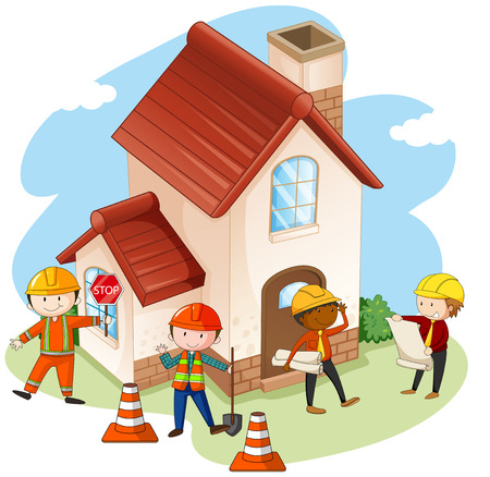 house building: Construction workers building house illustration