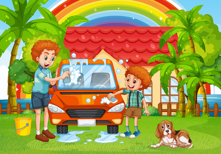 family outside house: Dad and son washing car in backyard illustration Illustration
