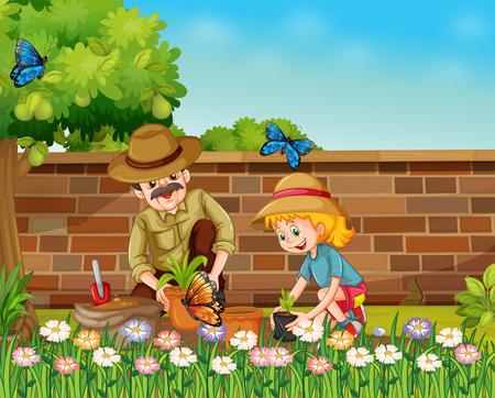 árboles y plantación de chicas padre en la ilustración de jardín