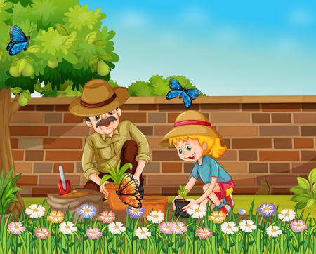 Girl and dad planting trees in the garden illustration