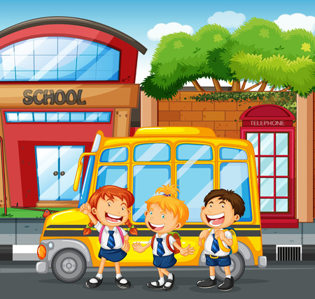 children art: Students and school bus at the school illustration Illustration