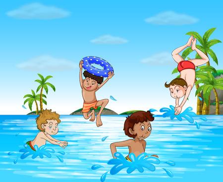 niños nadando: Muchachos natación y el buceo en el mar Ilustración