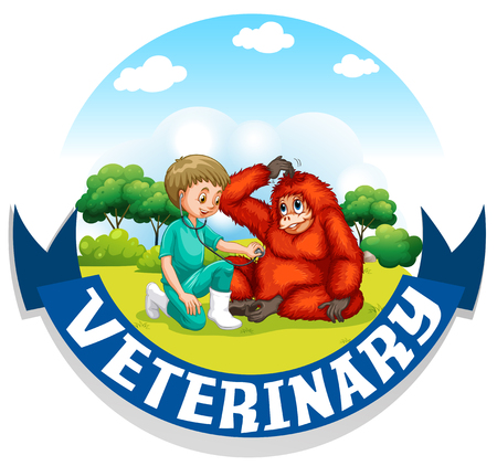 vet: Vet examining urangutan in the park illustration