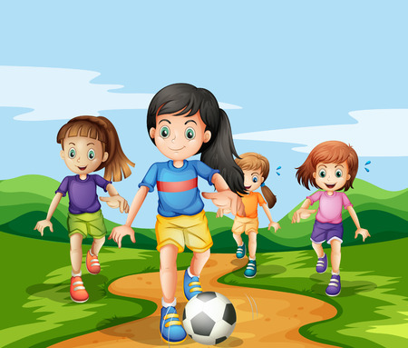Mädchen spielen soccker im Park Illustration Standard-Bild - 54770480