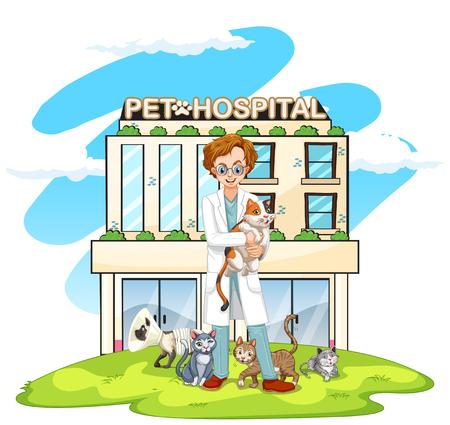 Vet en katten gezelschapsdieren hospital illustratie