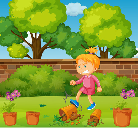 kicking: Angry girl kicking potted plants in the garden illustration Illustration