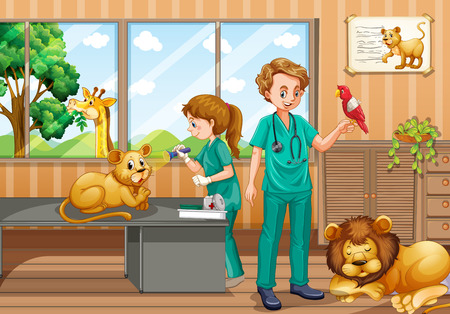 two animals: Two vets giving treatment to wild animals illustration